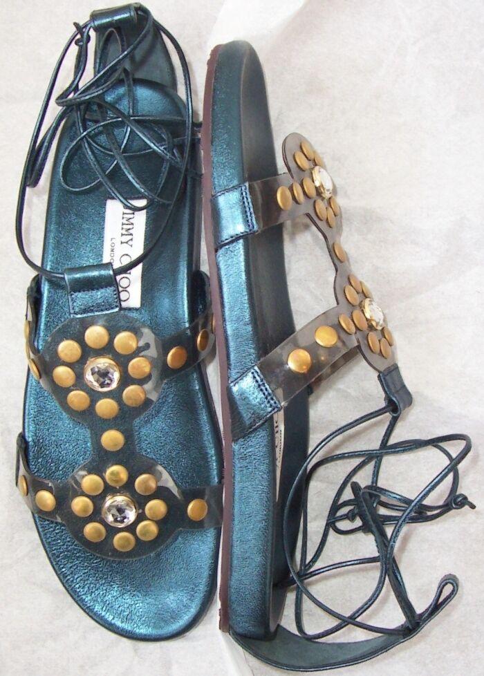 JIMMY CHOO CHOO CHOO blu Metallic Jeweled Sandals scarpe 38  7.5 26fecf