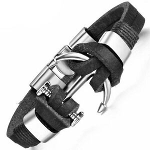Bracciale-Male-Charm-braccialetto-ecopelle-metallo-polso-ancora-accessori-uomo