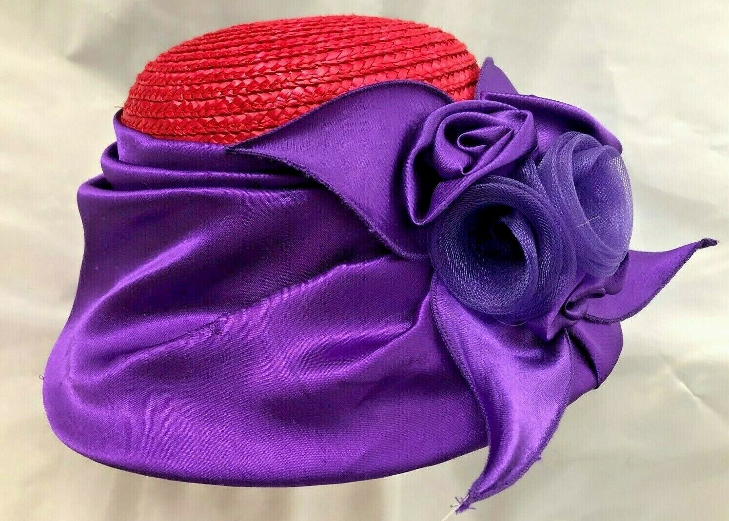"""Red Size 23"""" Straw Hat Cap with Purple Satin Flow… - image 2"""