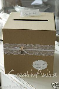 Briefbox Vintage M Spitze Natur Personalisiert Hochzeit