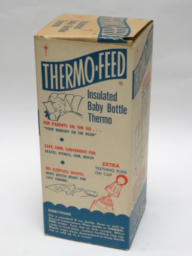 RARE VINTAGE 60/'s THERMO-FEED INSULATED BABY BOTTLE THERMO TOY-MO-PAK NY PINK