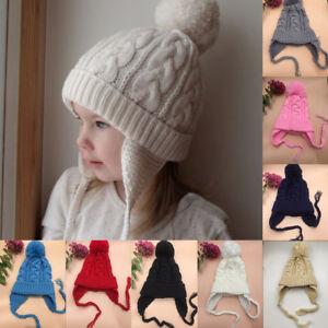 3a30f994d15 Toddler Kids Girl Boy Baby Infant Winter Earflap Crochet Knit Pom ...