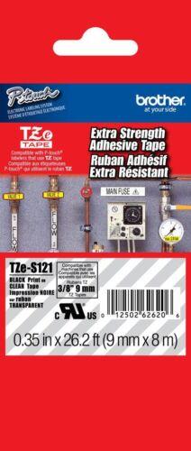 GENUINE Brother TZeS121 P-Touch Label Tape TZS121 Industrial Blk//Clr TZeS-121
