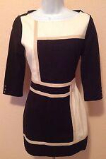 White House Black Market Black White Tan Colorblock Tunic Size XS / 0 2
