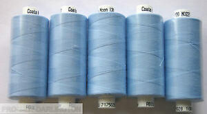 5-REELS-SKY-BLUE-MOON-POLYESTER-SEWING-THREAD-COTTON-120s-227