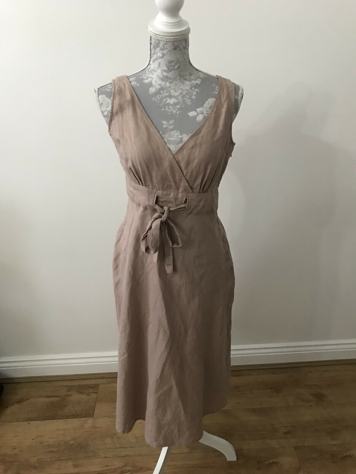 Great Plains Brown Linen Dress With Wrap Effect Bust - Size S
