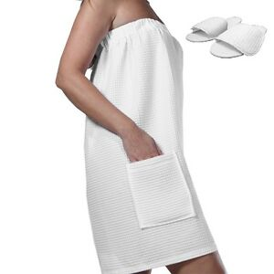 White Waffle Bath Wrap Towel Spa Bath Robes With Slippers