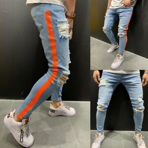 Men-Ripped-Biker-Skinny-Jeans-Frayed-Destroyed-Trousers-Slim-Fit-Denim-Pants