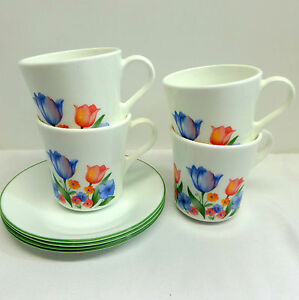 Corning-Corelle-Fresh-Cut-Tulips-Blue-Red-Orange-Set-of-4-Mugs-and-4-Saucers