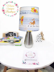 Winnie The Pooh Bear Blue Children Nursery Table Lamp Night Light Touch Lamp