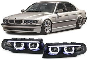 Led Angel Eyes Headlights Black With Motor For Bmw 7 Series E38 94 01 Ebay