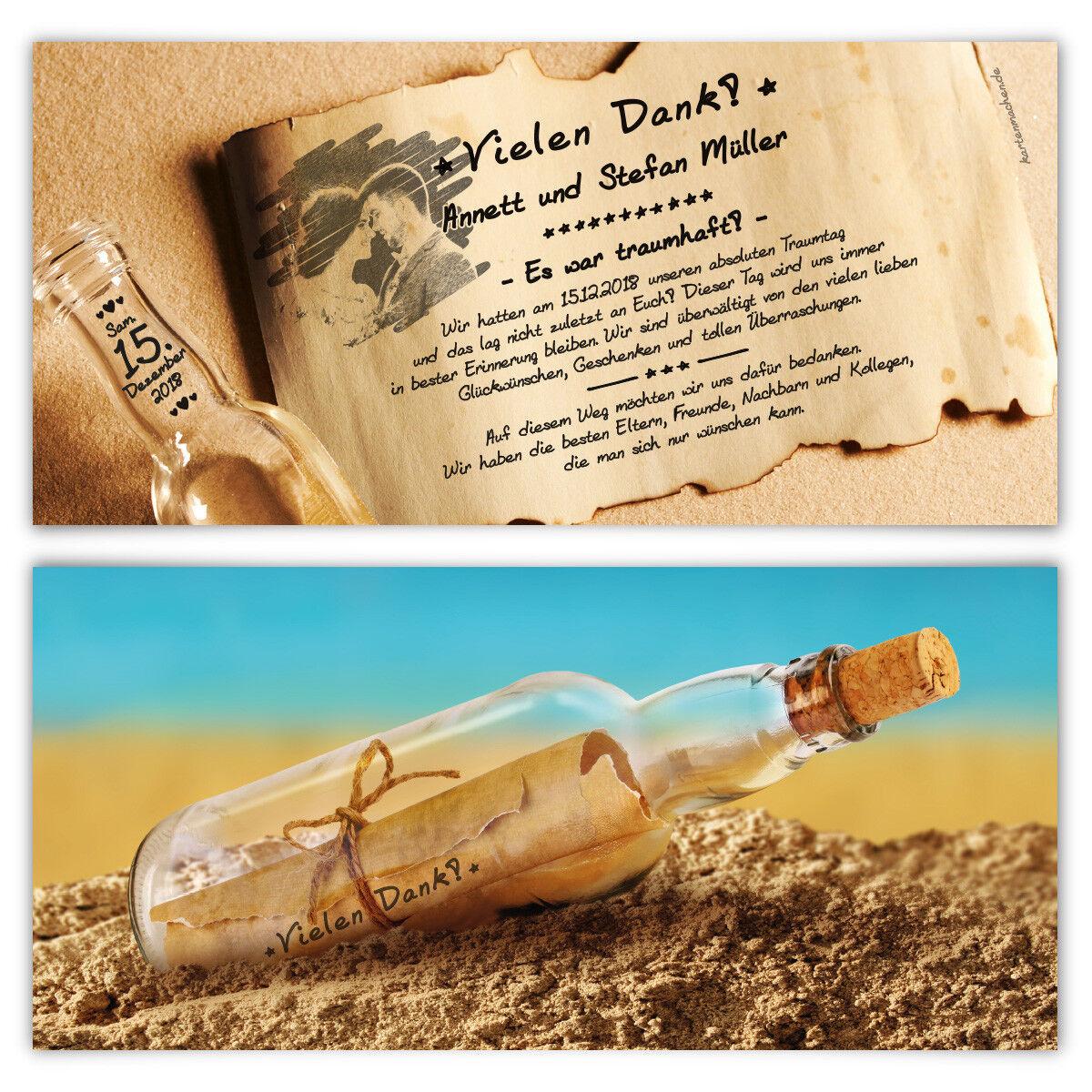 Hochzeit Dankeskarten Danksagungskarten individuell - Flaschenpost Motiv | Qualitätsprodukte  | Berühmter Laden