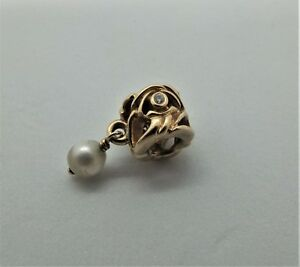 Retired-Pandora-14K-Gold-Diamond-And-Pearl-Pendant-Charm-750460D-authentic