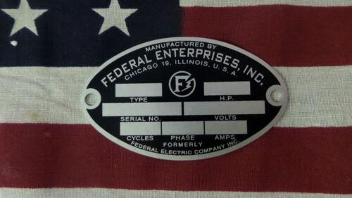 Federal Enterprises Air Raid / Civil Defense Siren Oval ID Plate