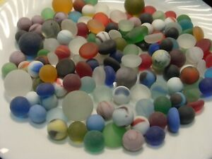 140 Vintage Glass Sea Beach Marbles/Pcs Frosted Display Arts Crafts Colorful #2