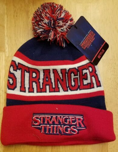 Loungefly Netflix Stranger Things Knit Pom Beanie Hat Cap Embroidered Logo New