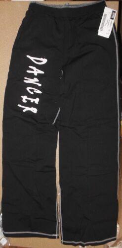 NWT  DANCER  Jazz Coverup PANTS BLACK w// white stitching Cotton Spandex COMFY