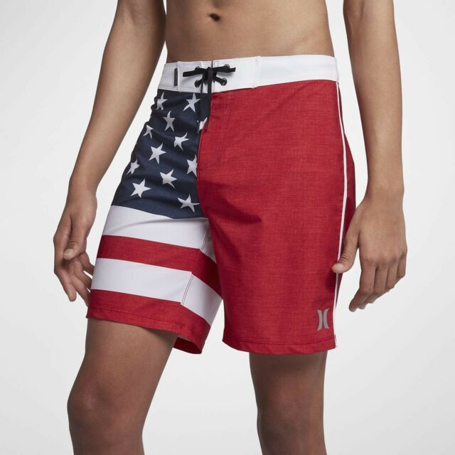 "a3964a0822 Hurley Phantom Cheers USA American Flag 18"" Board Shorts Sz 28 Waist for  sale online 