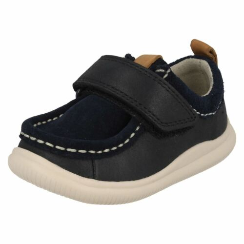 Boys Clarks Cloud Sea Leather First Walking Shoes F G /& H Fittings
