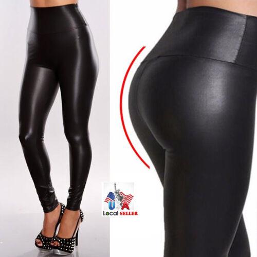 Women Faux PU Leather Leggings Pencil Pants High Elastic Waist Trousers Black