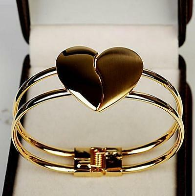 Womens Fashion Elegant Bangle Gold Tone Cuff Heart Bracelet Bling Hand Chain GOS