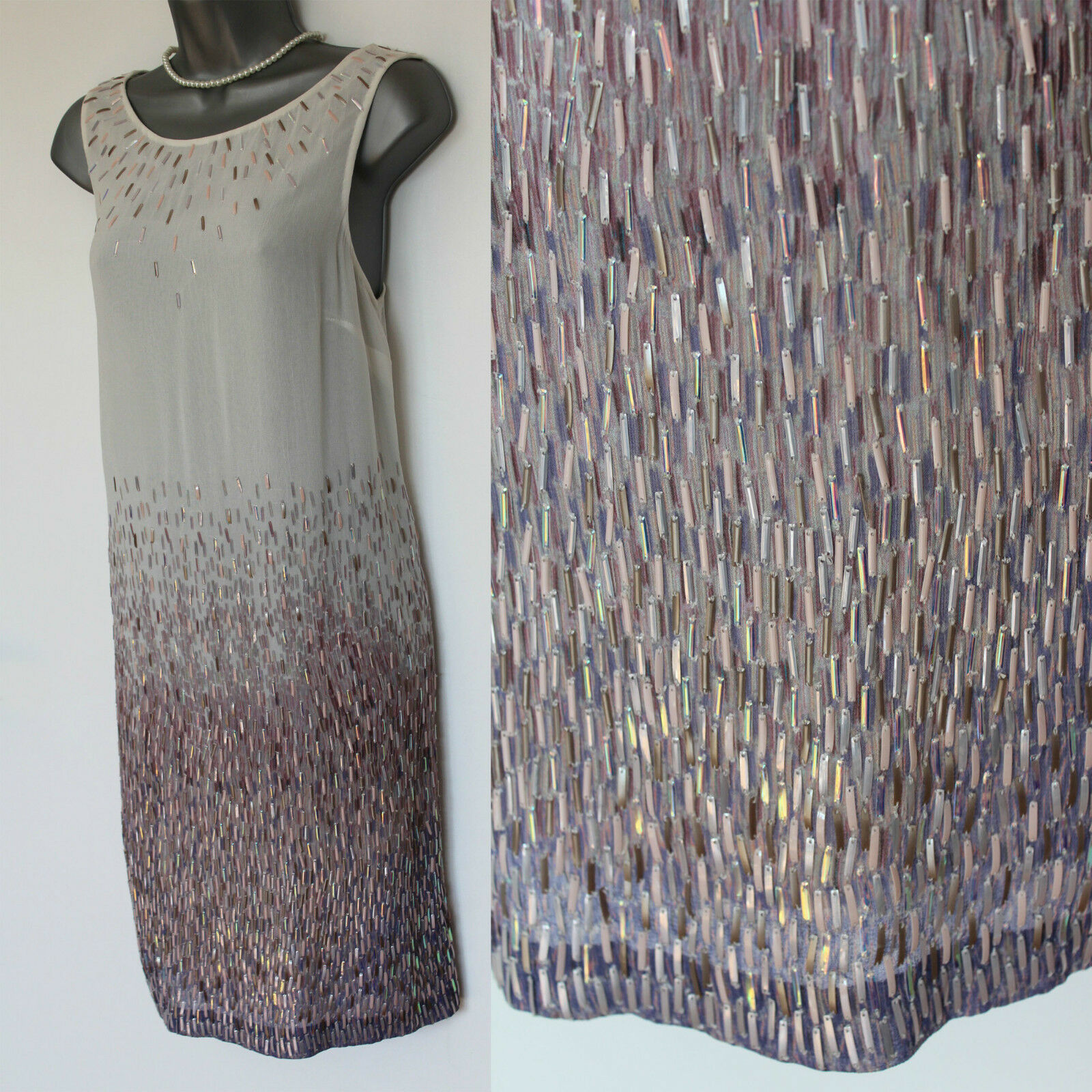 08b49834f7f MONSOON Ivory Silk Wedding Bridal Heavily Sequinned Formal Tunic Dress 12