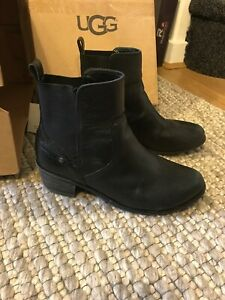 9fa3de03721 Details about Ugg Keller Croco Black Leather Ankle Boots Size Uk 4.5 Eu 37  Us 6