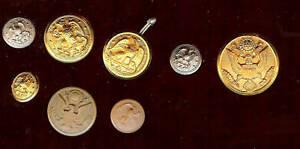 8-VINTAGE-old-unusual-Vintage-US-Bald-EAGLE-US-MILITARY-Uniform-Buttons
