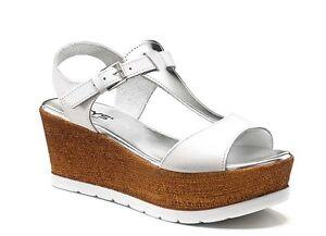 KEYS 5303 BIANCO ARGENTO scarpe sandali aperti donna sneaker sabot zeppa casual