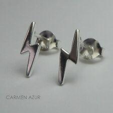 Silver Stud Earrings Solid 925 Sterling Ear Studs Lightning Bolt New, Gift Bag