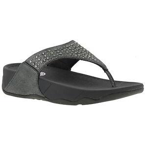 6b95642f1031 Fitflop Novy Womens Silver Flip Flop Jewel Toe Post Sandals Size 4-8 ...