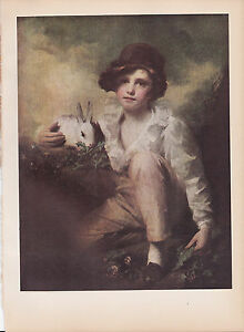 1939-Vintage-034-A-BOY-WITH-A-RABBIT-034-by-RAEBURN-LOVELY-Color-Art-Plate-Lithograph