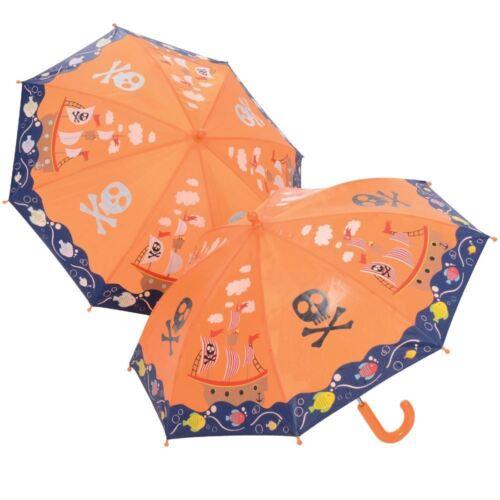 Floss /& Rock Pirate Colour Changing Umbrella Kids Childrens Orange Boys Brolly