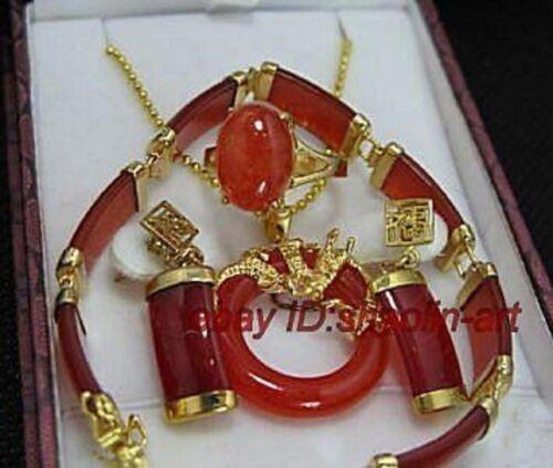Mode,jade Rouge Bracelet boucles d/'oreilles /& pendentif /& Bague 57#