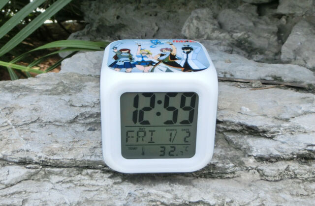 Fairy Tail Cosplay Anime LED 7 Colors Change Night Colorful kids Alarm Clock