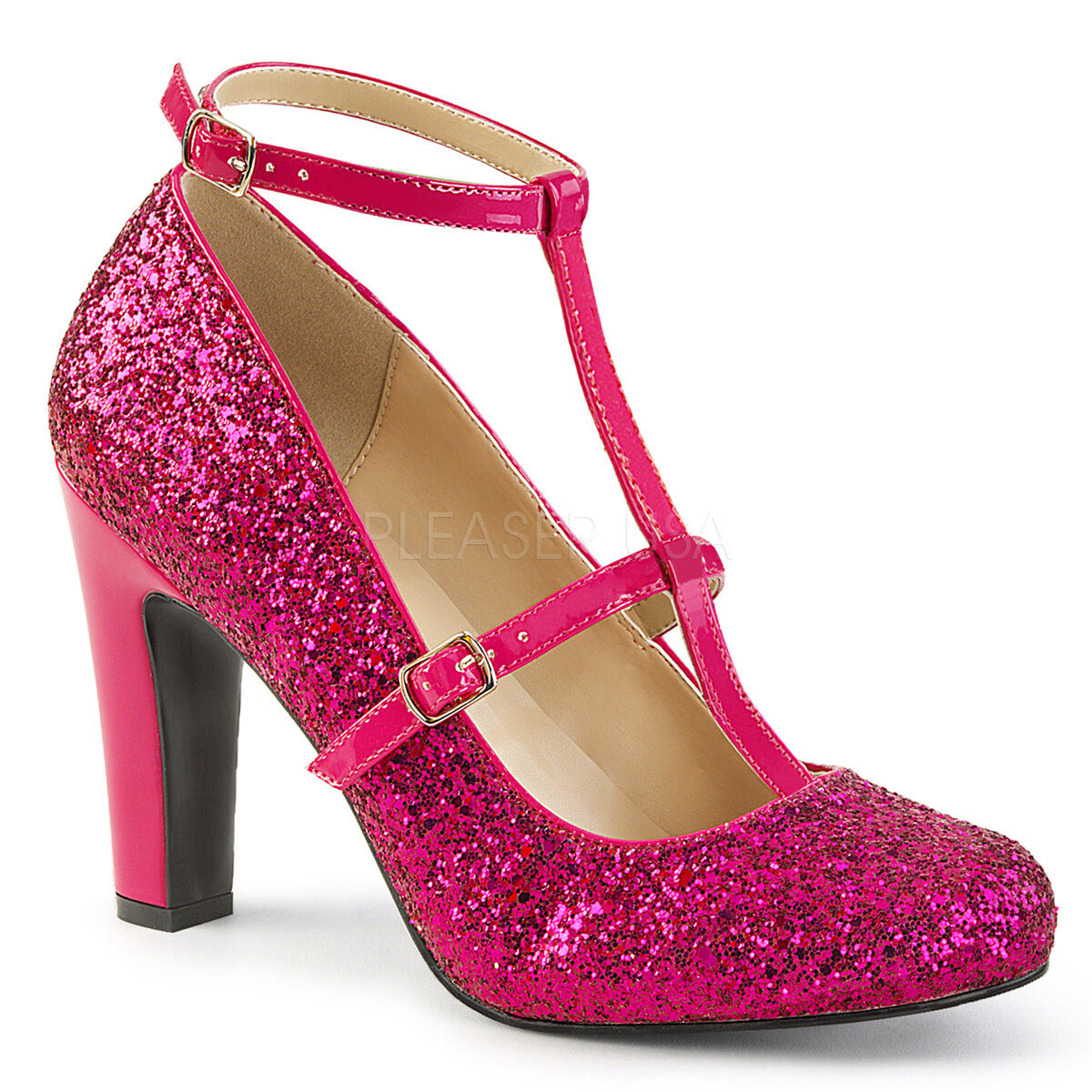 PLEASER Sexy 4  High Heel Round Toe Pumps schuhe with Hot Rosa Glitters