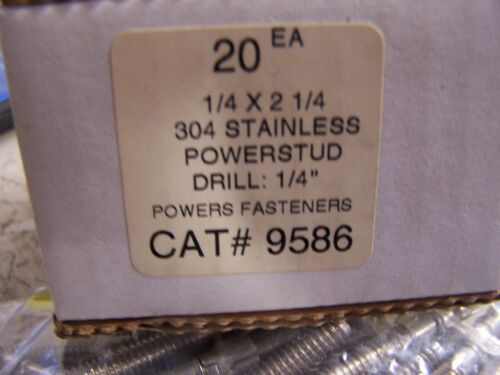 20 NEW POWER-STUD 9586 WEDGE ANCHOR 304 STAINLESS STEEL1//4 X 2-1//4 LOT OF 20