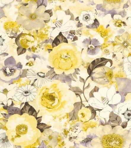 Vliestapete Rasch Lucy in the Sky 803532 Blumen Blüte Aquarell floral gelb taupe