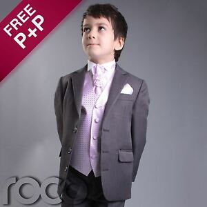 Boys-Grey-Pink-4pc-Wedding-Pageboy-Formal-Prom-Christening-Suit-6m-16-yrs