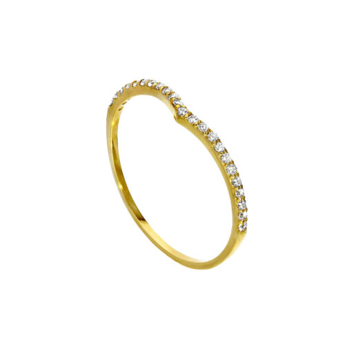 Real 9ct Gold /& Clear CZ Crystal Wishbone Half Eternity Stacking Ring Size I-U
