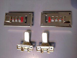 1 Pair Replacement Combination Lock in Black With Brass Dials