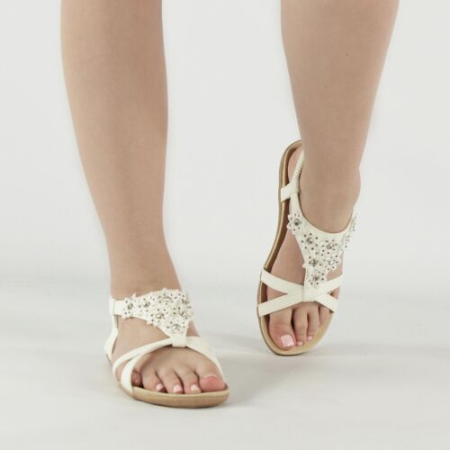 Ladies Womens Bewjewelled Diamante Elasticated Strappy Summer Sandals White