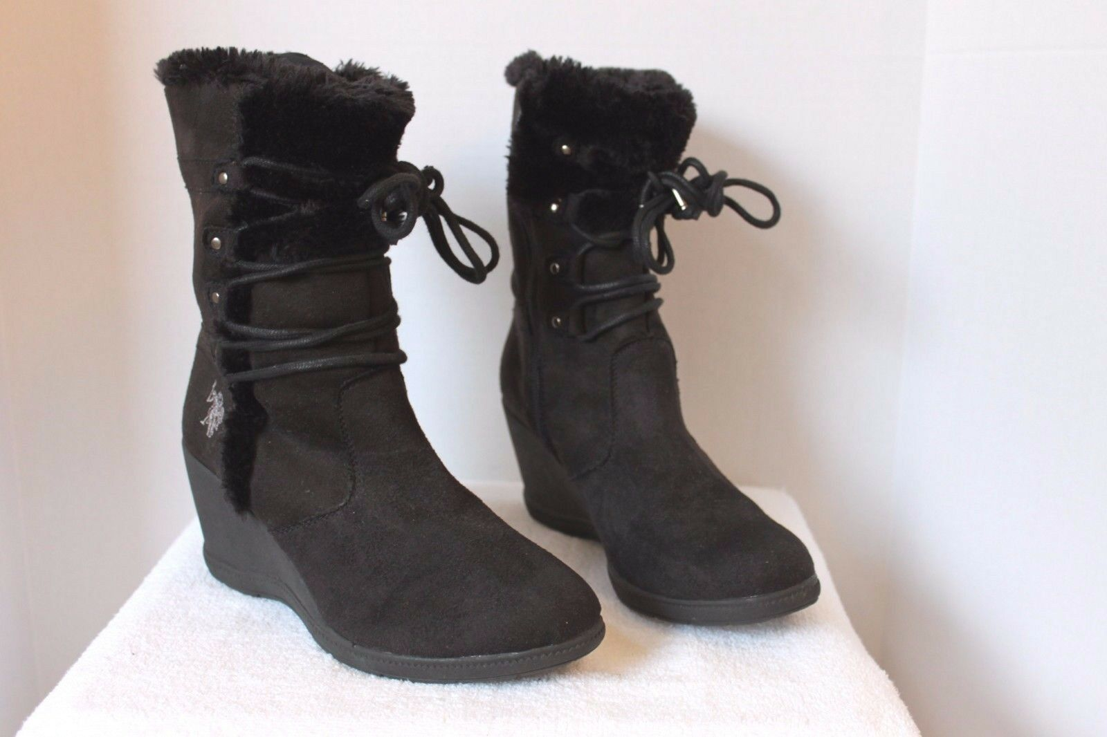 U.S POLO ASSN Karina Black Wedge Boots with Faux Fur Trim Womens Size 9 GUC