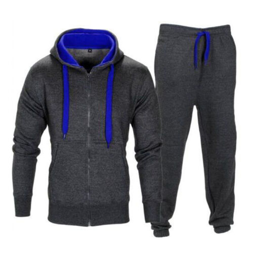 Sports Mens Tracksuit Jogging Tops+Bottom Sweat Suit Hoodie Coat Trousers Pants