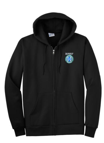 Burlington Northern Santa Fe Intermodal Logo Zippered Hoodie Sweatshirt 03