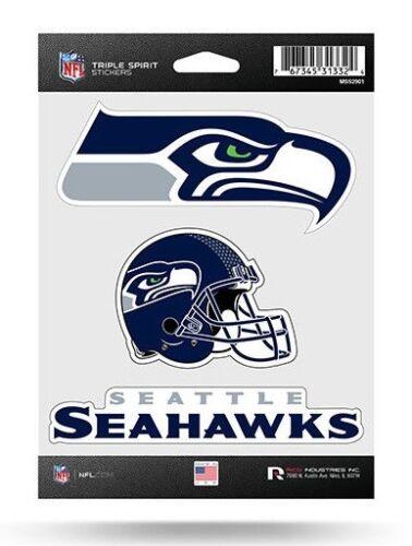 Seattle Seahawks Triple Spirit Sticker Blatt die Schnitt Aufkleber Neu Full Logo