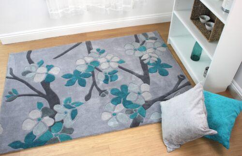 Modern Quality Floral Design Hand Carved Soft Teal Blue Rug in 2 Sizes Carpet