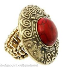 Antique Gold-tone Red Coral Ring Fashion Stretch Bohemian Bold Chunky