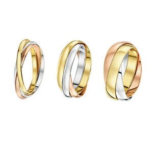 Image Is Loading 9ct Russian Wedding Ring Multi Tone 3 Colour