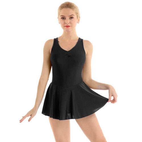 Adult Women Ballet Dress Sleeveless V-neck Gymnastics Dance Leotard Dancewear